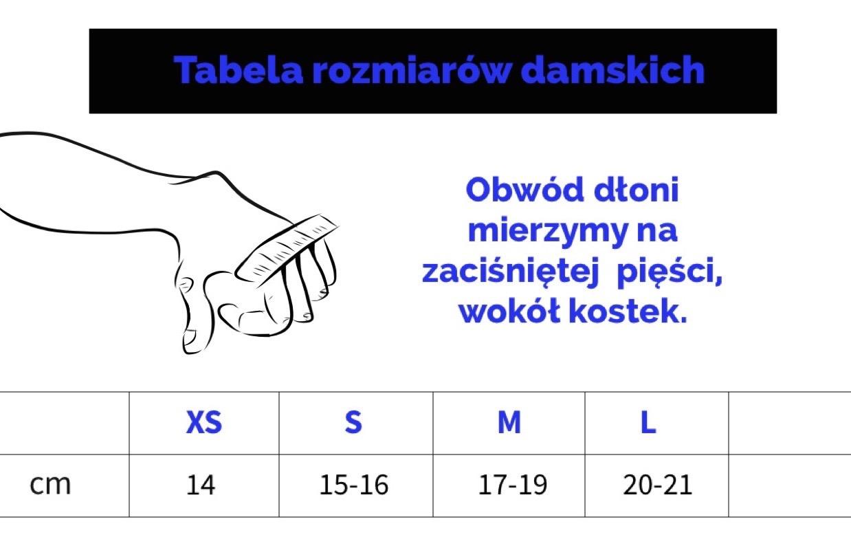 Tabela rozmiarów damsich rękawiczek